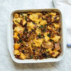 Andouille Bread Pudding | Food & Wine - Yes please! I want to make this and serve it with some grilled Berkshire pork chops.