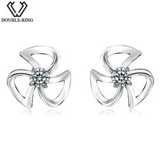 Real Diamond Stud Earrings Female 0.04ct 925 Sterling Sliver Flower Earrings Natural Diamond Jewelry Lover Gift - free shipping worldwide