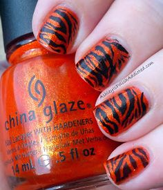 Tiger stripe nail art perfect for tournament time neat china glaze riveting with tiger stripes prinsesfo Image collections