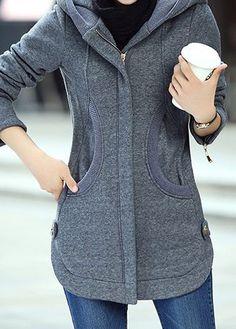 Grey Long Sleeve Pocket Hooded Collar Zippered Ladies Coat Long Sleeve Zipper Up Hooded Collar Grey Coat Denim Mantel, Coats For Women, Clothes For Women, Cheap Clothes, Swing Coats, Denim Coat, Fashion Outfits, Womens Fashion, Fashion Coat