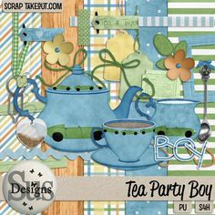Tea Party Boy - Does the sound of a steaming tea kettle make your mouth water and you ears sing with joy? Or do you remember with fondness days of yesteryear and porcelain tea parties with your friends or your favorite stuffed animals? Then this is the kit you have been waiting for, full of pretty pastels and sweet little race car decorated tea pots and cups #SusDesigns #DigiScrap #ScrapTakeOut #Scrapbook