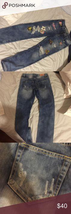 Patch jeans!! Super tight & cute machine Jeans Boyfriend