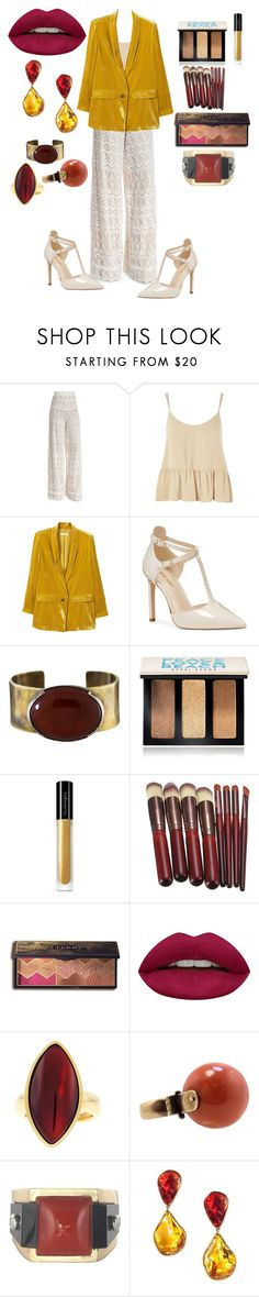 """""""Velvet and Lace"""" by feralkind ❤ liked on Polyvore featuring Alice + Olivia, Topshop, MANGO, Nine West, Orduna Design, Bobbi Brown Cosmetics, Illamasqua, By Terry, Huda Beauty and Vhernier"""
