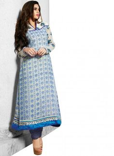 Off White and Blue Georgette and Shantoon A-line Kameez and Churidaar