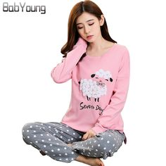 4d600b152d BabYoung Winter Pyjamas Cotton Women Pajamas Sets Pijamas Mujer Sheep  Pattern Femme Long Sleeve Sleepwear Female Homewear Review