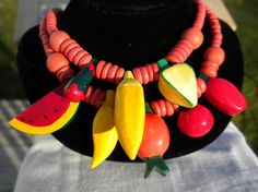 Chunky Fruit Necklace 1980s Two Layer Wood Beads Carmen