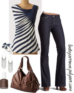 "I looooove this top...""Simple Brown N' Navy"" by lindsycarranza ❤ liked on Polyvore"