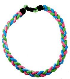 http://cheune.com/store Titanium Necklace, Germanium Necklace, Ionic Necklace, Energy Necklace, 18 Inches, Baseball Necklace or Softball Necklace, Pink, Lime Green, and Aqua Blue, #69