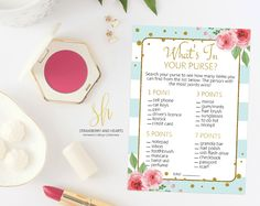 Get the party started with fun 'What's in your purse' game! This game is the perfect ice breaker for any bridal shower or bachelorette party. #printable #bridalshower #bridalshowergames #bridalgames #bridalshowerstationery #bridalstationery #bachelorette #bachelorettegames #bachelorettepartygames #SHdesigns