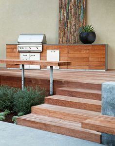 Gathering Table - Contemporary - Patio - san francisco - by Arterra LLP Landscape Architects Design Grill, Deck Design, Design Wood, Barbecue Design, Terrace Design, Railing Design, Design Design, Modern Deck, Contemporary Patio
