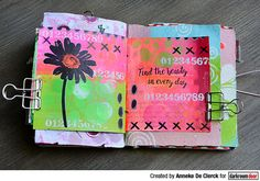Art journal page by Anneke De Clerck using Darkroom Door Daisy Eclectic Stamp and Number Medley Stamp Set