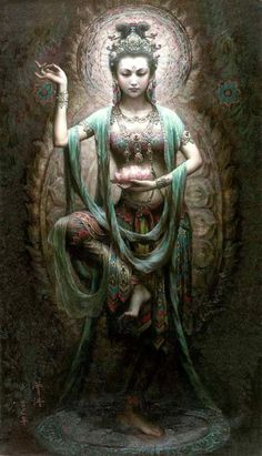 Guanyin (觀音, pinyin guānyīn, Wade-Giles: kuan¹-yin¹) es el nombre dado en China a Avalokiteśvara bodhisattva venerado en el budismo. El valor asociado a este bodhisattva es la Compasión. https://es.wikipedia.org/wiki/Guan_Yin