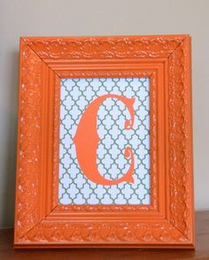 Remember how I told you I made something? This is it: I LOVE monograms, but C is officially THE most boring letter for a monogram in the history of monograms. And, the room it's going in has . Craft Projects, Projects To Try, Craft Ideas, Orange Craft, Diy And Crafts, Arts And Crafts, Monogram Frame, Initial Art, Letter Art