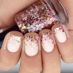 love the style of this with the glitter on tips. I'd choose a different color replacing the beige