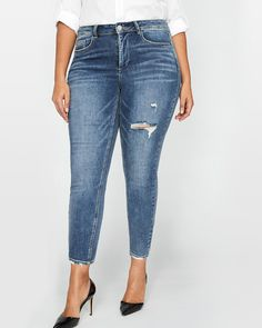 Add the elegant cropped length and the trendy distressed accents of these chic plus size jeans by Love & Legend to your wardrobe for endless days of perfect fit & effortless fashion.<br /><br />Fit & Cut<br />- Regular rise<br />- Skinny leg<br />- Button fly<br />- 5 pockets<br />- 30 inch inseam<br /><br />Design details<br />- Faded accents<br />- Rips & ...