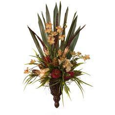 Emma Wall Sconce container is filled with natural and faux materials: dyed pheasant feathers, silk orchids, angel vine, stemmed mahogany pods, silk cream hydrangea, palm grass, and dried botanicals.