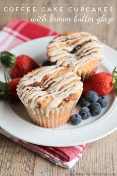 Coffee Cake Cupcakes with Brown Butter Glaze - yummy cupcake recipe.