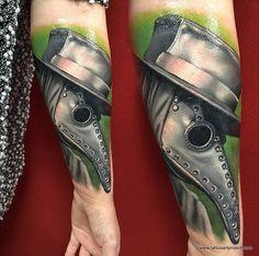Tattoo art by Jozsef Torok 3d Tattoos, Black Tattoos, Sleeve Tattoos, Cool Tattoos, Awesome Tattoos, Mask Tattoo, Tattoo Art, Doctor Tattoo, Death Tattoo