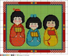Kokeshi Dolls Needlepoint Pattern