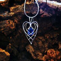 Lapis Lazuli Wire Wrapped Heart Pendant. $70.00, via Etsy - kjs