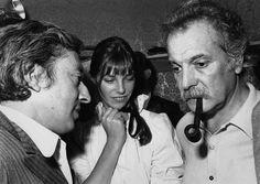 Serge Gainsbourg, Jane Birkin et Georges Brassens, en 1973.