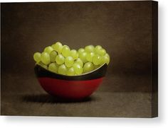 Grapes Canvas Print. Artwork features a bowl of fresh, white grapes against a brown background with a subtile fine art texture. #fineart #grapes #grapescanvas #whitegrapes #whitegrapescanvas #grapescanvasprint #fineartcanvas Canvas Art For Sale, Still Life Photos, Texture Art, Got Print, Stretched Canvas Prints, Hanging Wire, Tag Art, How To Take Photos, Fine Art America