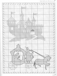 Fairy tale carriage castle cross stitch