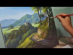 Acrylic Landscape Painting Lesson - Mountain Road by JMLisondra - YouTube