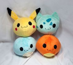 Round Pokemon Plush Collection Pikachu by SeamsLegitCrafts on Etsy, $100.00