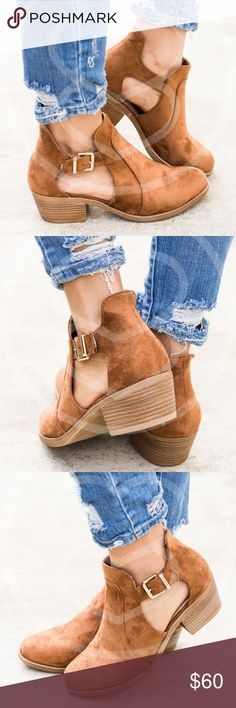 JAXTON Cut Out Bootie - Camel Buckle cut out bootie.  So comfy.  Runs true to size.  PRICE FIRM Shoes Ankle Boots & Booties
