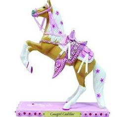 Cowgirl Cadillac Figurine , Let's be honest. all girls are 'horse crazy.' It starts when little girls put on their first pair of pink suede cowboy boots. Little Pony, Little Girls, Suede Cowboy Boots, Trail Of Tears, Painted Pony, Hand Painted, Pony Horse, Horse Gifts, Horse Sculpture