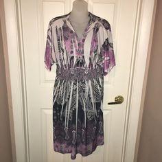 Mi Manchi Women S-M ? Purple Peasant Boho Subliminal Floral Knit Dress COVER-UP #MIMANCHI #CINCHEDWAISTSUBLIMINAL Knit Dress, Wrap Dress, Ebay Dresses, Cover Up, Boho, Knitting, Purple, Shoulder, Floral