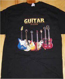 Guitar Player Classic Guitars  T-Shirt, Adult Size LARGE $7.99