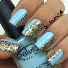 Blue is in the air. See more nailart on bellashoot.com #glitter #nailart #Goldnails #bluenails