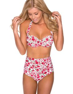 Ladies Swimwear Pin Up Retro Roses Bikini Set High Waisted Bottom Padded Top | eBay