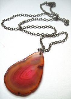 Pink and Amber Agate Slice