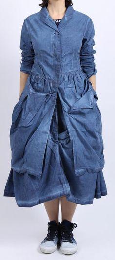 rundholz black label - Mantel Gehrock mit hängenden Taschen blueberry - Sommer 2016 - stilecht - mode für frauen mit format...