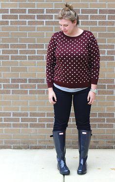 Navy gloss adjustable back Hunter Boots, jeans, garnet and gray polka dot sweater