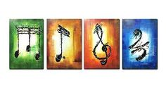 Canvas Paintings Raybre Art-100% Hand Painted Oil Painting Modern Abstract Paintings Music Note Large Wall Art For Living Room Decorations16 24inch 4pcsNO Frame