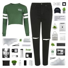 """//croppedhoodie//"" by lion-smile ❤ liked on Polyvore featuring Topshop, NIKE, NARS Cosmetics, Dr. Martens, Hershesons, Bobbi Brown Cosmetics, Carven, Acne Studios, Calvin Klein and Frette"