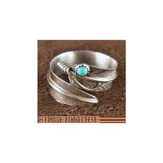 Native American Turquoise Feather Ring SilverTribe.com found on Polyvore…