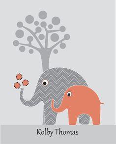 Childrens chevron elephant art  personalized gray by walstonprints, $14.00