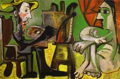 Picasso, Pablo (Pablo Ruiz Picasso): El pintor y la modelo (The Painter and The Model) Pablo Picasso Artwork, Kunst Picasso, Art Picasso, Picasso Paintings, Cubist Movement, Francis Picabia, Artists And Models, Georges Braque, Fine Art