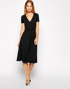 Enlarge ASOS Midi Skater Dress with Wrap Front and Short Sleeves