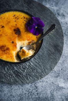 Violet and sweet potato crème brûlée