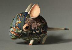 Mouse - porcelain sculpture - by Ukrainian artists Anya Stasenko and Slava Leontyev