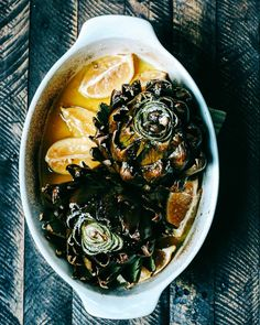 roasted artichokes with olive oil salt and lemons by localhaven