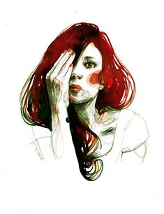 Paula Bonet is an illustrator who creates beautiful drawings on paper and also walls. The artist creates mostly portraits telling us a story, sometimes accompan Illustrators, Girls Illustration, Redhead Art, Face Art, Illustration, Amazing Art, Artwork Painting, Graphic Art, Interesting Art