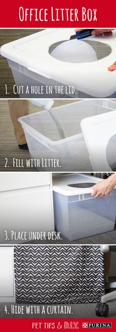 Use this DIY litter box idea to make your cat feel comfortable at the office!