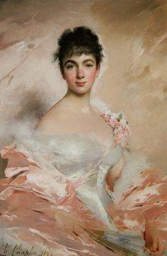 Femme en rose - Charles Chaplin (French painter, born 1825 - 1891)
